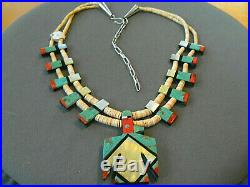 Native American Multi-Stone Inlay Sterling Silver Thunderbird Heishi Necklace
