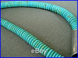Native American Multi-Stone Inlay Sterling Silver Turquoise Heishi Bead Necklace