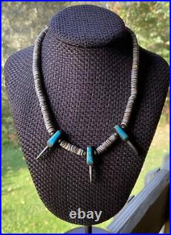 Native American Navajo Heishi Bead Necklace Bear Claw Sterling Silver Turquoise