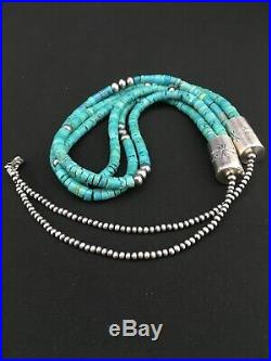 Native American Navajo Sterling Silver 3S 6mm TURQUOISE HEISHI Necklace 28 1343