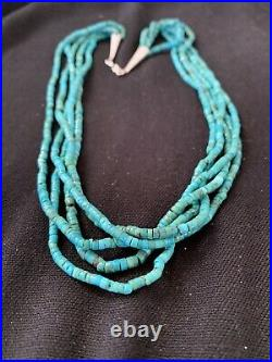 Native American Navajo Sterling Silver 5S 2mm TURQUOISE HEISHI Necklace 20 205