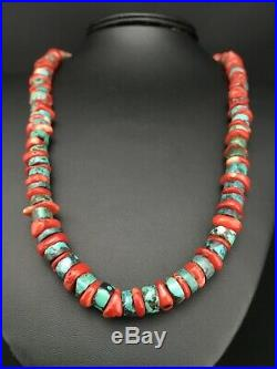 Native American Navajo Sterling Silver Heishi Turquoise Coral Necklace 22 1266