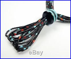 Native American Paul Tenorio 10 Strand Fine Heishi Turquoise Coral Long Necklace