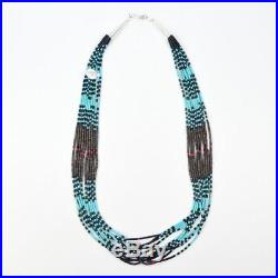 Native American Paul Tenorio 10 Strand Fine Heishi Turquoise Shell 19 Necklace