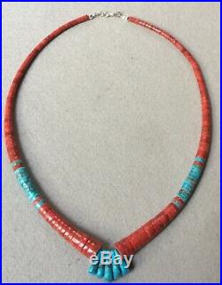 Native American Red Apple Coral Turquoise Heishi Necklace By Lupe Lovato