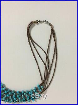 Native American SANTO DOMINGO Necklace 3 Strands Heishi Turquoise Nuggets