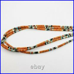 Native American Santo Domingo Heishi Necklace Coral Turquoise MOP Jet