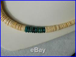 Native American Santo Domingo Melon Shell And Turquoise Heishi Necklace