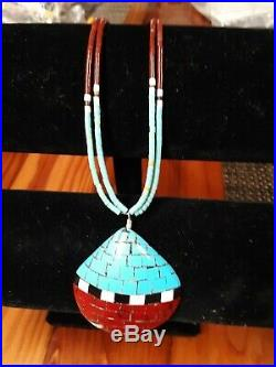 Native American Santo Domingo Mosaic Inlay On Shell & Heishi Bead Necklace
