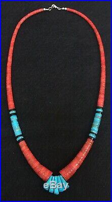Native American Santo Domingo Red Coral Turquoise Heishi Necklace Lupe Lovato