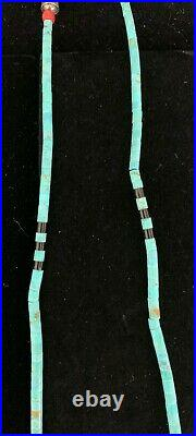 Native American Santo Domingo Turquoise, Coral, Heishi and Shell Necklace