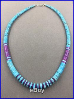 Native American Santo Domingo Turquoise Heishi Necklace by Lupe Lovato