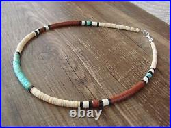 Native American Santo Domingo Turquoise Heishi Necklace by Torevia Crespin