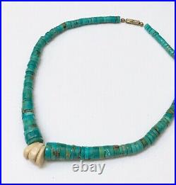 Native American Southwestern Heishi Authentic Turquoise Shell Beaded Necklace