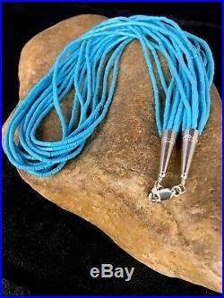 Native American Stabilize Turquoise Heishi 10S Sterling Silver Necklace 20 4194
