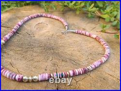 Native American Sterling Purple Spiny, Turquoise Oyster Heishi Bead Necklace