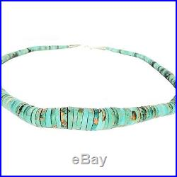 Native American Sterling Silver 21mm Graduated Kingman Turquoise Heishi Necklace