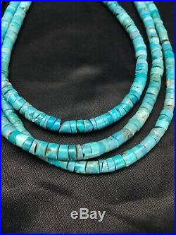 Native American Sterling Silver 3S TURQUOISE HEISHI Necklace Set 24 in 2583