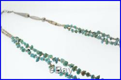 Native American Sterling Silver Heishi Bead & Turquoise 2 Strand Necklace 29 In