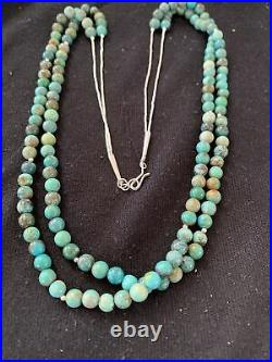 Native American Sterling Silver Heishi Green Turquoise Bead Necklace Pendant 769