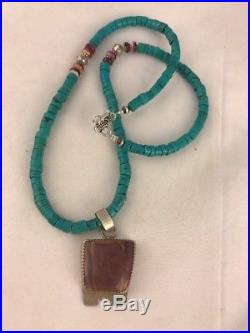 Native American Sterling Silver Heishi Turquoise Necklace Bead Spiny Oys Pendant