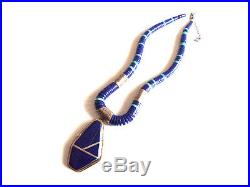 Native American Sterling Silver Lapis Lazuli Turquoise Heishi Necklace