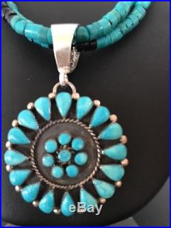 Native American Sterling Silver Turquoise Onyx Heishi Necklace Cluster Pendant