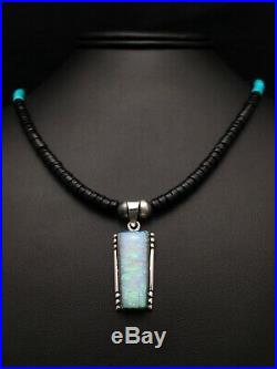 Native American TURQUOISE Heishi ONYX Sterling Silver Necklace OPAL Pendant 4270