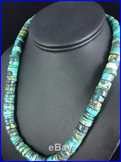 Native American Turquoise 10 mm Heishi Sterling Silver Bead Necklace Rare