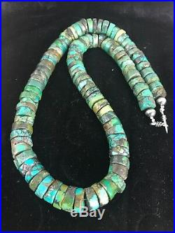 Native American Turquoise 12 mm 20 Heishi Sterling Silver Bead Necklace 3406