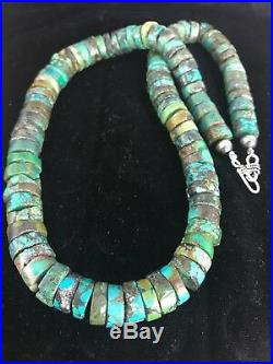 Native American Turquoise 12 mm Heishi Sterling Silver Bead Necklace Gift