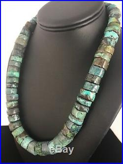 Native American Turquoise 16 mm Heishi Sterling Silver Bead Necklace Gift