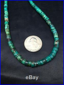 Native American Turquoise 6 mm Heishi Sterling Silver Bead 20 Necklace 2502