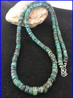 Native American Turquoise 7 mm Heishi Sterling Silver Bead Necklace 1228 31
