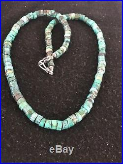 Native American Turquoise 7 mm Heishi Sterling Silver Bead Necklace Rare 8467