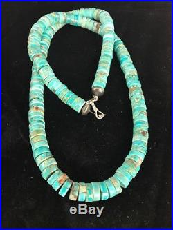 Native American Turquoise 8 mm Heishi Sterling Silver Bead Necklace Gift
