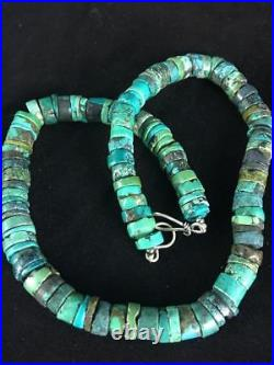 Native American Turquoise 8 mm Heishi Sterling Silver Bead Necklace Rare S368