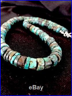 Native American Turquoise 8mm Heishi Sterling Silver Bead Necklace Rare