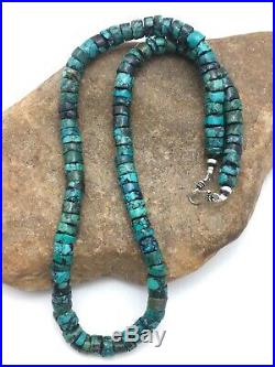Native American Turquoise 9 mm 20 Heishi Sterling Silver Bead Necklace S421