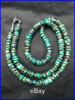 Native American Turquoise 9 mm 26 Heishi Sterling Silver Bead Necklace 4356