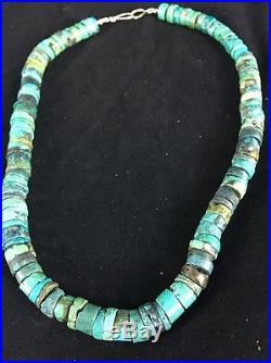 Native American Turquoise 9 mm Heishi Sterling Silver Bead Necklace Rare