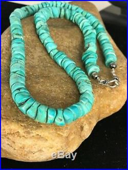 Native American Turquoise 9 mm Heishi Sterling Silver Bead Necklace Rare 8465