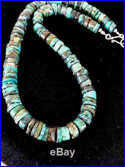 Native American Turquoise 9 mm Heishi Sterling Silver Bead Necklace Rare A383