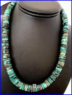 Native American Turquoise 9 mm Heishi Sterling Silver Bead Necklace Rare S383