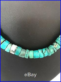 Native American Turquoise 9 mm Heishi Sterling Silver Bead Necklace Rare S421