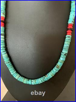 Native American Turquoise Coral 20 Heishi Sterling Silver Bead Necklace 01991