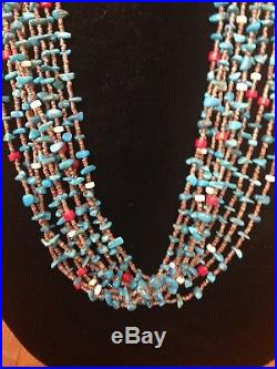 Native American Turquoise, Coral and Heishi Necklace 30