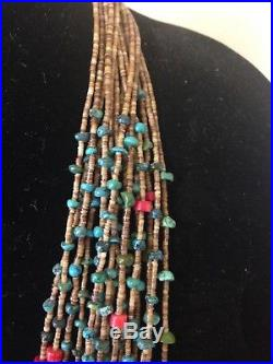 Native American Turquoise, Coral and Heishi Necklace 30 Multistrand