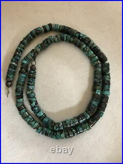 Native American Turquoise Heishi Bead Sterling Silver Necklace 22 Long
