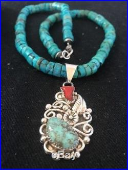 Native American Turquoise Heishi Coral Sterling Silver Bead Necklace Pendant 014